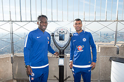 November 27, 2017 - New York, New York, U.S - The Empire State Building hosts former Chelsea FC legends MICHAEL ESSIEN, L and ASHLEY COLE, R  on November 27, 2017 in New York. (Credit Image: © Bryan Smith via ZUMA Wire)