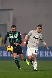 "Foto Filippo Rubin<br /> 10/02/2019 Reggio Emilia (Italia)<br /> Sport Calcio<br /> Sassuolo - Juventus - Campionato di calcio Serie A 2018/2019 - Stadio ""Mapei Stadium""<br /> Nella foto: FRANCESCO MAGNANELLI (SASSUOLO) VS PAULO DYBALA (JUVENTUS)<br /> <br /> Photo Filippo Rubin<br /> February 10, 2019 Reggio Emilia (Italy)<br /> Sport Soccer<br /> Sassuolo vs Juventus - Italian Football Championship League A 2018/2019 - ""Mapei Stadium"" Stadium <br /> In the pic: FRANCESCO MAGNANELLI (SASSUOLO) VS PAULO DYBALA (JUVENTUS)"