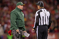 12 January 2013: Head coach Mike McCarthy of the Green Bay Packers argues a call with NFL official Scott Edwards while coaching against the San Francisco 49ers during the second half of the 49ers 45-31 victory over the Packers in an NFL Divisional Playoff Game at Candlestick Park in San Francisco, CA.