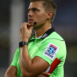 DURBAN, SOUTH AFRICA - MARCH 26: Assistant Referee Jaco van Heerden during the Super Rugby match between Cell C Sharks and BNZ Crusaders at Growthpoint Kings Park on March 26, 2016 in Durban, South Africa. (Photo by Steve Haag)<br /> <br /> images for social media must have consent from Steve Haag