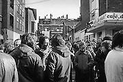 Nederland, Nijmegen 21-2-1981..Demonstratie tegen ontruiming en sloop kraakpanden aan de Piersonstraat. Woningnood Parkeergarage. Zeigelhof. Kraken, krakers, sympathisanten, Cafe de Plak...Foto: Flip Franssen/Hollandse Hoogte.