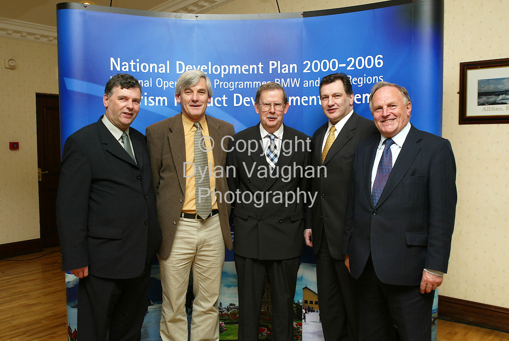 1/2/2002 .Pictured in Carlow yesterday in the Dolmen Hotel at the launch of the Tourism Product Development Scheme under the National Development plan 2000-2006 for the South and East Region was from left Kieran Phelan Chairman Midlands-East Tourism,Senator Jim Gibbons, Niall Reddy acting Chief Executive Bord Failte Eireann, Cllr Pat Crotty Chairman South East Tourism and John Browne T.D..Picture Dylan Vaughan