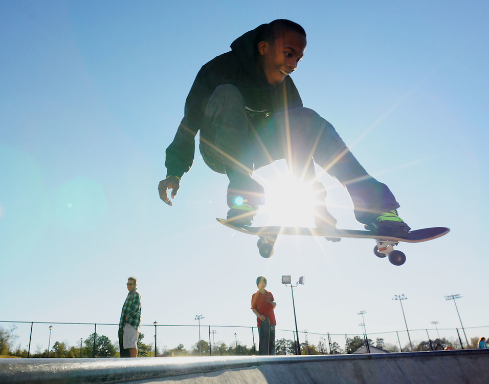 Jerry McGill, 15, catches air during a trick on Monday at the Petal Skate Park. Bryant Hawkins/ Hattiesburg American