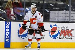 Feb 8, 2012; San Jose, CA, USA; Calgary Flames defenseman Mark Giordano (5) warms up before the game against the San Jose Sharks at HP Pavilion. Calgary defeated San Jose 4-3. Mandatory Credit: Jason O. Watson-US PRESSWIRE
