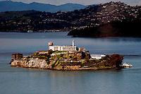Aerial view of Alcatraz Prison, San Francisco, California