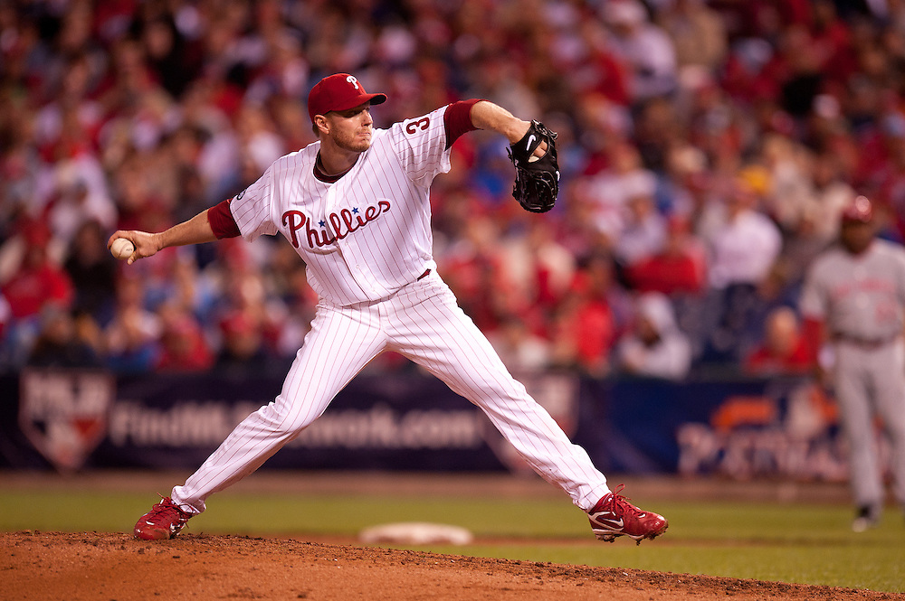 PHILADELPHIA - OCTOBER 06: Roy Halladay #34 of the Philadelphia Phillies delivers a pitch against the Cincinnati Reds in a game that he throws a no hitter on October 6, 2010 during game one of the NLDS at Citizens Bank Park in Philadelphia, Pennsylvania. The Phillies defeated the Reds 4 to 0. ( Photo by: Rob Tringali) *** Local Caption *** Roy Halladay