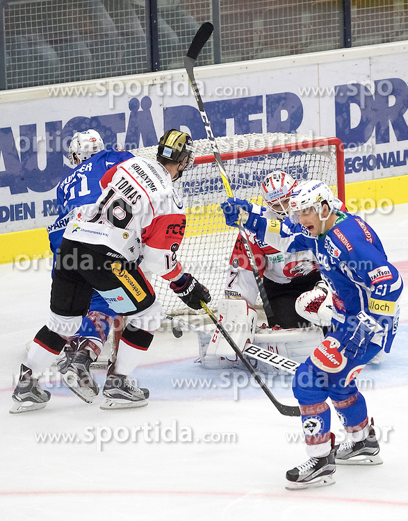 18.09.2016, Stadthalle, Villach, AUT, EBEL, EC VSV vs HC Orli Znojmo, 2. Runde, im Bild 5:0 durch Evan Mcgrath (EC VSV) (EC VSV), v.l. Eric Hunter (EC VSV), Roman Tomas (Znojmo), Patrik Nechvatal (Znojmo), Benjamin Petrik (EC VSV) // during the Erste Bank Icehockey League 2nd Round match between EC VSV vs HC Orli Znojmo at the Stadthalle in Villach, Austria on 2016/09/18. EXPA Pictures © 2016, PhotoCredit: EXPA/ Johann Groder