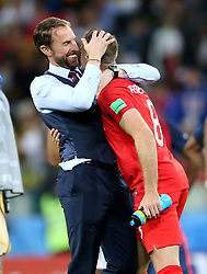 England manager Gareth Southgate (left) celebrates with England's Jordan Henderson after winning the FIFA World Cup 2018, round of 16 match at the Spartak Stadium, Moscow.