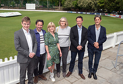 © Licensed to London News Pictures. 16/05/2019. Bath, Bath and North East Somerset, UK. RACHEL JOHNSON (green dress) with other Change UK MEP candidates at a Change UK - The Independent Group rally at Bath Cricket Club as part of campaigning in the elections for the European Parliament. Rachel Johnson is the lead Change UK candidate for south west England. Photo credit: Simon Chapman/LNP