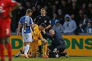 York City goalkeeper Scott Flinders  gets treatment during the Sky Bet League 2 match between Bristol Rovers and York City at the Memorial Stadium, Bristol, England on 12 December 2015. Photo by Simon Davies.