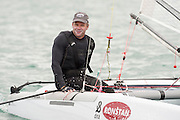 Emirates Team New Zealand sailor Chris Nicholson before the start of racing on day one of the A Class World championships regatta being sailed at Takapuna in Auckland. 11/2/2014