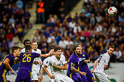 Marko Suler #4 of NK Maribor and Bergsveinn Olafsson #5 of FH Hafnarfjrdur and David Vidarsson #10 of FH Hafnarfjirdur    during 1st Leg football match between NK Maribor (SLO) and FH Hafnarfjordur (ISL) in Third qualifying round of UEFA Champions League 2017/18, July 26, 2017, in Stadium Ljudski vrt, Maribor, Slovenia. Photo by Grega Valancic / Sportida