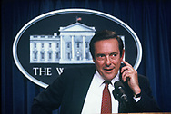 US Trade Representative Bill Brock takes a question in the White House press briefing room in October 1984.Photo by Dennis Brack