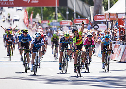 Chloe Hosking (AUS) wins in a close finish ahead of Letizia Paternoster (ITA) and Rachele Barbieri (ITA) at Santos Women's Tour Down Under 2019 - Stage 4, a 42.5 km road race in Adelaide, Australia on January 13, 2019. Photo by Sean Robinson/velofocus.com