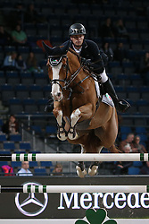 20.11.2015, Schleyer Halle, Stuttgart, GER, FEI World Cup, Stuttgart German Masters, Preis der Raumpflege AG, Internationale Springpruefung, im Bild Jerome Guery (Belgien) auf Grand Cru van de Rozenberg // during price of Raumpflege AG, International Jumping Competition of FEI World Cup Stuttgart German Masters at the Schleyer Halle in Stuttgart, Germany on 2015/11/20. EXPA Pictures &copy; 2015, PhotoCredit: EXPA/ Eibner-Pressefoto/ Fudisch<br /> <br /> *****ATTENTION - OUT of GER*****