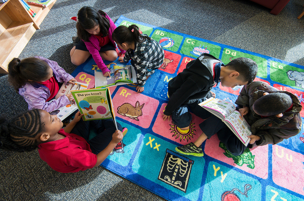Students study in the Sherman Elementary School library, December 2, 2013.
