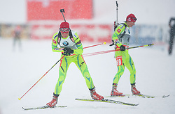 Gregorin Teja of Slovenia and Mali Andreja of Slovenia compete during Ladies 7,5 km Sprint of the e.on IBU Biathlon World Cup on Thursday, December 14, 2012 in Pokljuka, Slovenia. The third e.on IBU World Cup stage is taking place in Rudno polje - Pokljuka, Slovenia until Sunday December 16, 2012. (Photo By Vid Ponikvar / Sportida.com)