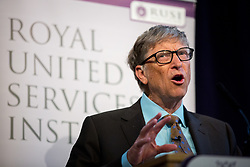 © Licensed to London News Pictures. 19/04/2017. London, UK. Bill Gates, Co-Chair of the Bill & Melinda Gates Foundation speaks at The Royal United Services Institute (RUSI) panel discussion on aid, security and broader British national interests. Photo credit : Tom Nicholson/LNP