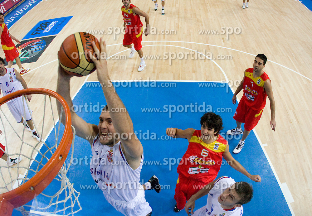 Miroslav Raduljica of Serbia during the basketball match at 1st Round of Eurobasket 2009 in Group C between Spain and Serbia, on September 07, 2009 in Arena Torwar, Warsaw, Poland. (Photo by Vid Ponikvar / Sportida)