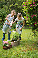 Girls, Gardening, Watering Can, Care, Assistance,