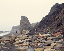 Cliff & beach polluted with coal mining waste, Concrete rubble of Dawdon Colliery, Seaham; County Durham, 1997