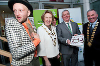 Gombeen Jonathon Gunning with Galway City Mayor Cllr Terry O Flaherty Galway Bay FM and Chairperson Galway Gatherings Steering Group  Keith Finnegan Galway County Mayor Cllr Tom Welby    at Aras An Contae. Picture Andrew Downes..