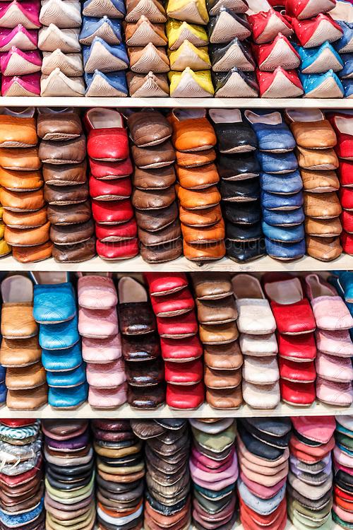 Stacks of leather shoos, Fes al Bali medina, Fes, Morocco