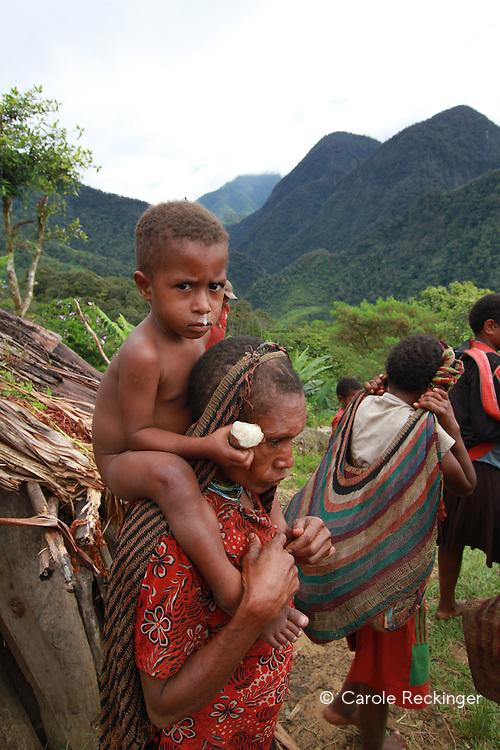 A Yali village three days walk from Wamena.
