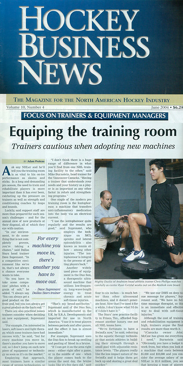 PHATS NHL Anaheim Ducks trainer Chris Phillips in action for Hockey Business News article.