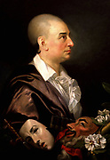 David Garrick' (1717-1779) English actor, theatre manager and playwright.  Profile portrait of Garrick bareheaded, with maks of comedy and tragedy. Johann Zoffany or Zauffelij (1733–1810) German painter, active mainly in England.