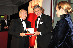 Left to right, HRH The AGA KHAN, ARNAUD BAMBERGER and PRINCESS ZAHRA AGA KHAN at the annual Cartier Racing Awards held at the Grosvenor House Hotel, Park Lane, London on 17th November 2008.