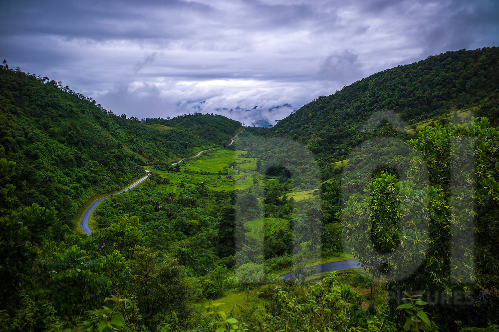 Landscape along the road between Thong Nguyen (Hoang Su Phi) and the road 279 (Quang Binh), Vietnam, Southeast Asia