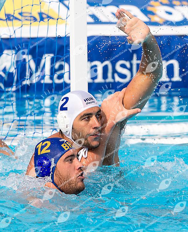 2 GOR-NAGY Miklos HUN 12 VRLIC Josip BRA<br /> Hungary HUN (white) - Brazil BRA  (blue)<br /> day 03 - 25/06/2015<br /> FINA Water Polo World League Superfinal Men<br /> Bergamo (ITA) 23-28 June 2015<br /> Photo G.Scala/Deepbluemedia