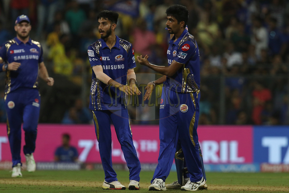Jasprit Bumrah of the Mumbai Indians celebrates the wicket of Dwayne Bravo of the Chennai Superkings  during match one of the Vivo Indian Premier League 2018 (IPL 2018) between the Mumbai Indians and the Chennai Super Kings held at the Wankhede Stadium in Mumbai on the 7th April 2018.<br /> <br /> Photo by Faheem Hussain / IPL / SPORTZPICS