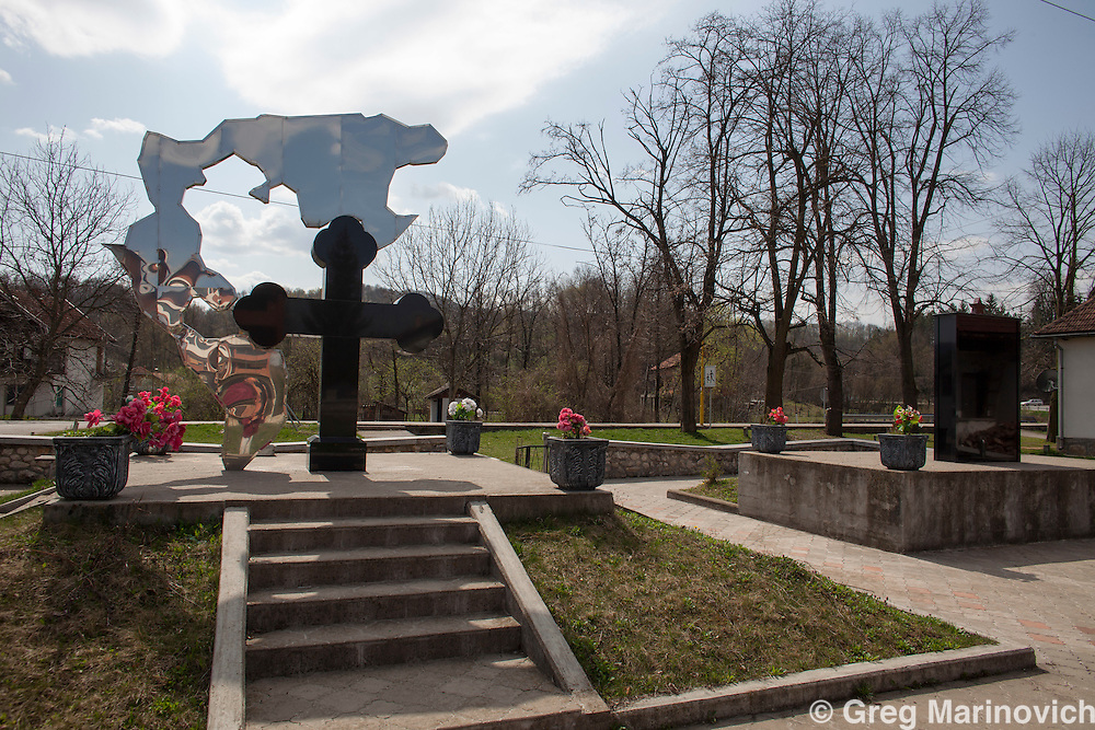 Bosnia, April 4, 2012. Memorials for Serbs lost in both the Bosnian war of the Nineties and in WWII. Between Tuzla and Bijeljinja, in the Replika Srpska, which is the Serbian part of Bosnia and Herzegovina.  Greg Marinovich