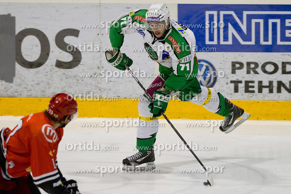 Bostjan Golicic (HDD Tilia Olimpija, #71) during ice-hockey match between HK Acroni Jesenice and HDD Tilia Olimpija in fourth game of Final at Slovenian National League, on April 2, 2012 at Dvorana Podmezaklja, Jesenice, Slovenia. (Photo By Matic Klansek Velej / Sportida.com)