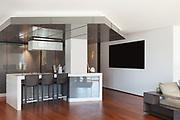 Interior of apartment, wide kitchen, parquet floor
