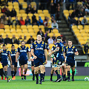 Ben Smith (CC) leads out his team at the start of the super rugby union  game between Hurricanes  and Highlanders, played at Westpac Stadium, Wellington, New Zealand on 24 March 2018.  Hurricanes won 29-12.