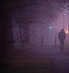 ©Licensed to London News Pictures 01/01/2020<br /> Orpington ,UK. A man walking to work in the cold fog. New years day foggy weather in South East London this morning in Orpington a London borough of Bromley.Photo credit: Grant Falvey/LNP