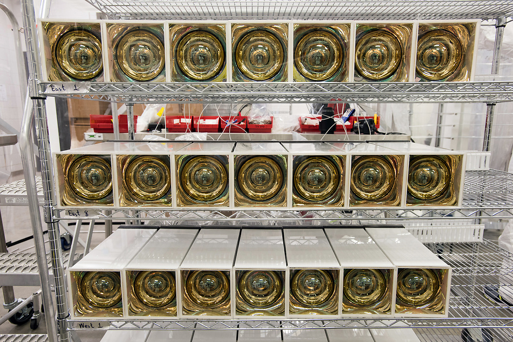 Photo by Mara Lavitt<br /> New Haven, CT<br /> November 17, 2017<br /> Photography: &copy;Mara Lavitt<br /> <br /> The final stages of building a neutrino detector at Yale University's Wright Lab. Housings awaiting placement.