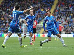 Hull City's Nikica Jelavic celebrates with Hull City's Shane Long - Photo mandatory by-line: Alex James/JMP - Tel: Mobile: 07966 386802 22/02/2014 - SPORT - FOOTBALL - Cardiff - Cardiff City Stadium - Cardiff City v Hull City - Barclays Premier League