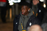 Mohamed Daramy of FC Copenhagen steps off the team bus as it arrives at Parkhead ahead of the Europa League match between Celtic and FC Copenhagen at Celtic Park, Glasgow, Scotland on 27 February 2020.