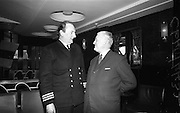 06/04/1966<br /> 04/06/1966<br /> 06 April 1966<br /> Captain John Williams retires as Master of B &amp; I ship the M.V. &quot;Munster&quot;. Captain Williams was presented with a tape recorder by the Masters, Officers and staff of all the B &amp; I ships. Picture shows Mr. Charles Allen (Cork), First Officer of the M.V. &quot;Munster&quot; chatting with Captain Williams at the reception on board the &quot;Munster&quot;.