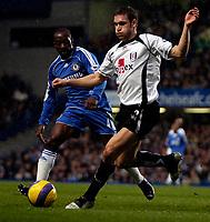 Photo: Ed Godden.<br />Chelsea v Fulham. The Barclays Premiership. 30/12/2006.<br />Chelsea's Claude Makalele (L), pursues Moritz Volz.