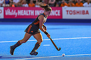 Lidewij Welten of the Netherlands (12) shoots and scores in the shoot out (3-1) during the Vitality Hockey Women's World Cup 2018 Semi-Final match between the Netherlands and Australia, at the Lee Valley Hockey and Tennis Centre, QE Olympic Park, United Kingdom on 5 August 2018. Picture by Martin Cole.