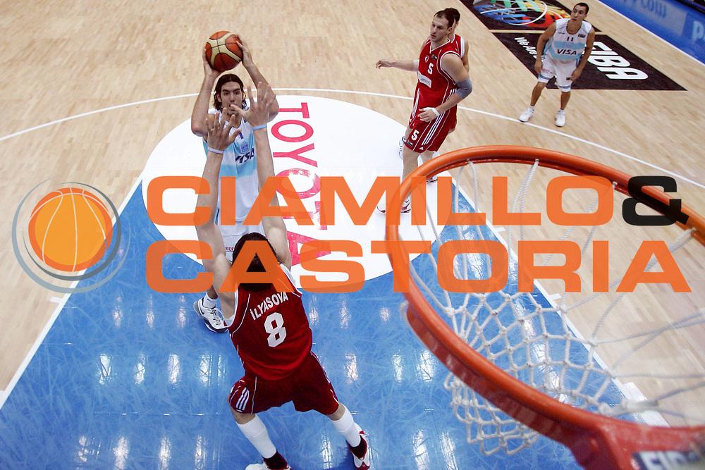 DESCRIZIONE : Saitama Giappone Japan Men World Championship 2006 Campionati Mondiali Argentina-Turkey <br /> GIOCATORE : Scola <br /> SQUADRA : Argentina <br /> EVENTO : Saitama Giappone Japan Men World Championship 2006 Campionato Mondiale Argentina-Turkey <br /> GARA : Argentina Turkey Argentina Turchia <br /> DATA : 29/08/2006 <br /> CATEGORIA : Special Sponsor Toyota <br /> SPORT : Pallacanestro <br /> AUTORE : Agenzia Ciamillo-Castoria/M.Ciamillo <br /> Galleria : Japan World Championship 2006<br /> Fotonotizia : Saitama Giappone Japan Men World Championship 2006 Campionati Mondiali Argentina-Turkey <br /> Predefinita :