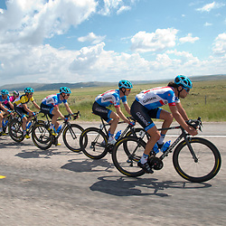 Stage 5 2014 Larry H. Millar Tour of Utah, Evanston, Wyoming to Kamas, Utah. Thomas Dekker op kop van het peloton