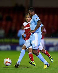 Plymouth Defender Neal Trotman (ENG) in action during the first half of the match - Photo mandatory by-line: Rogan Thomson/JMP - Tel: Mobile: 07966 386802 08/10/2013 - SPORT - FOOTBALL - County Ground, Swindon - Swindon Town v Plymouth Argyle - Johnstone Paint Trophy Round 2.