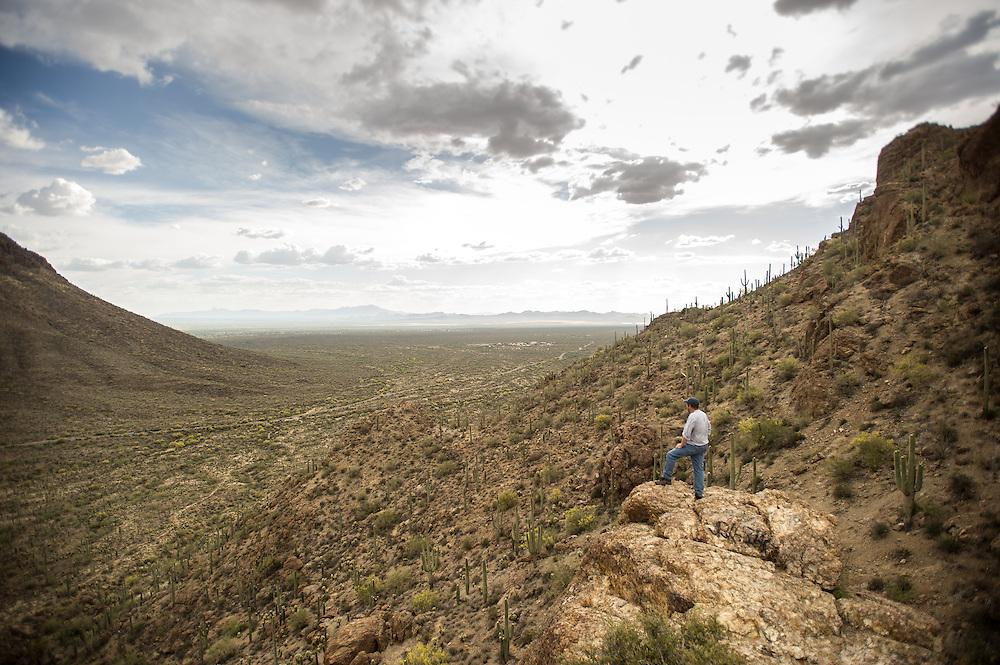 Hiker and desert, Tucson AZ
