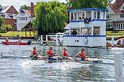 Henley on Thames, England, United Kingdom, 7th July 2019, Henley Royal Regatta, Finals Day, The Town Challange Cup, Hollandia Roeiclub, Netherlands, approaching the finishing line for victory over the  Chinese National Rowing Team, China, Henley Reach, [© Peter SPURRIER/Intersport Image]<br />